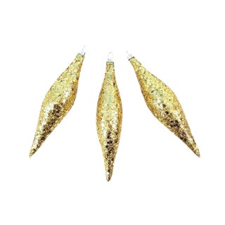 Vintage Gold Star Glitter Teardrop Christmas Tree Ornaments-Set of 3 For Sale