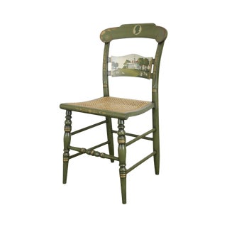 Hitchcock Green Painted George Washington Mount Vernon Cane Seat Side Chair (B) For Sale