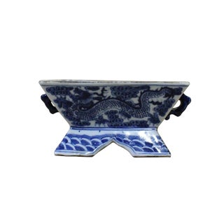 Chinese Blue & White Porcelain Graphic Rectangular Bowl Container