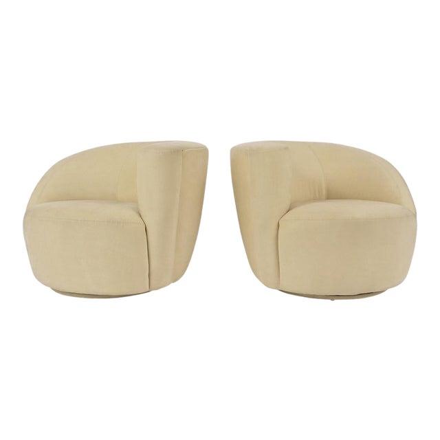 Pair of Vladimir Kagan 1970 Swivel Lounge Chairs For Sale