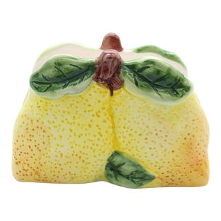 1960s Vintage Lemon Majolica Napkin Holder For Sale