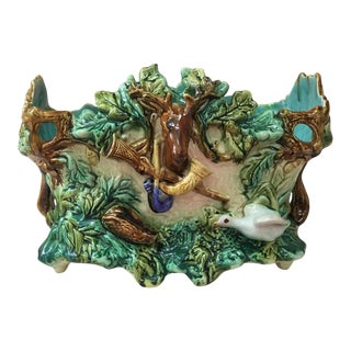 1880 Onnaing Majolica Hunt Jardiniere For Sale