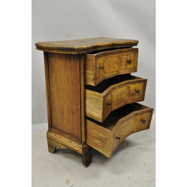 Antique Italian Continental 3 Drawer Inlaid Walnut Commode Chest Nightstand For Sale - Image 11 of 12