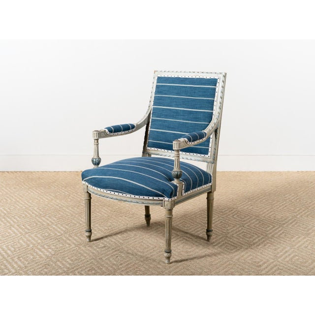 Antique Neoclassical Blue Reupholstered Armchair For Sale - Image 4 of 7