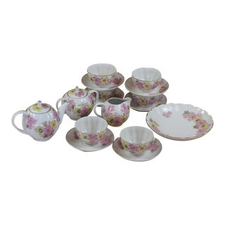 Vintage u.s.s.r. Pink & Yellow Floral Bone China Tea Set - Service for 5 For Sale
