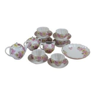Vintage Ussr Pink & Yellow Floral Bone China Tea Set - Service for 6 For Sale