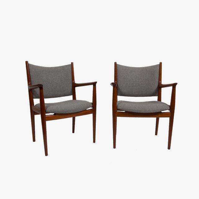 Hans Wegner JH-513 cashmere and teak arm chairs mfg. by Cabinetmaker Johannes Hansen for Knoll International.
