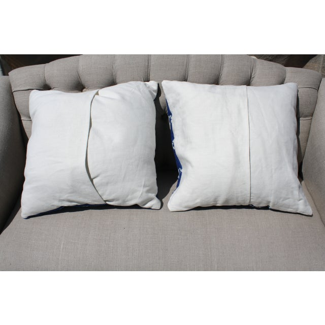Bright Blue Indigo Mudcloth Pillows - Pair - Image 3 of 3