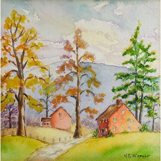 Small Red Farm House Landscape Watercolor Painting For Sale