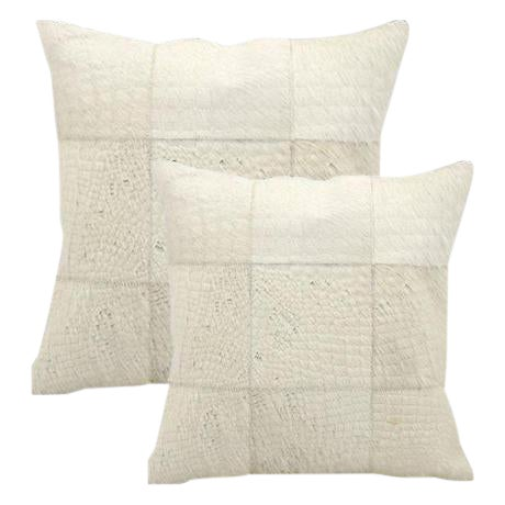 """Modern Premium Leather & Cowhide Pillows Grid Pattern 20""""x20"""" For Sale"""