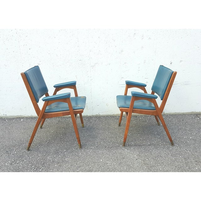 Gio Ponti Vintage Gio Ponti Chairs in Teal Leather - Pair For Sale - Image 4 of 8