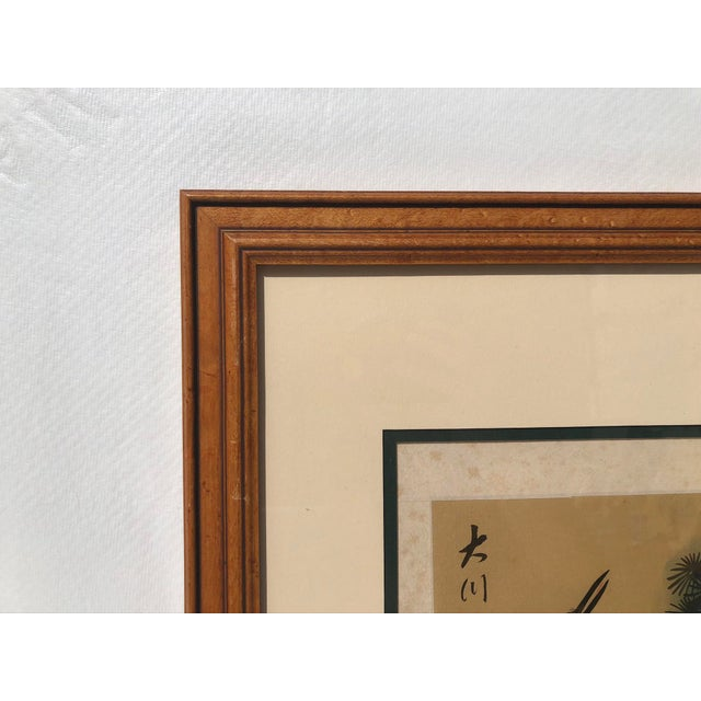 Early 20th Century Asian Cranes Watercolor on Silk For Sale - Image 5 of 8