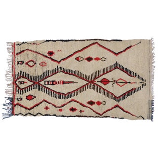 Vintage Berber Moroccan Azilal Rug With Tribal Style and Modern Bauhaus Design - 4'6 X 7'6 For Sale