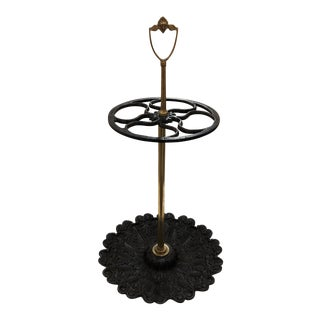 Circa 1900 Cast Iron and Brass Umbrella Stand For Sale