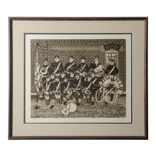 """1970s Etching """"Turn of the Century Band"""" by Michael Louis Jacques For Sale"""