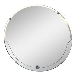 Vintage Art Deco Unframed Beveled Wall Mirror For Sale