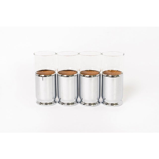 Mid Century Highball Cocktail Glasses With Silver Cork Liners For Sale In Detroit - Image 6 of 11