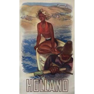 1950 Original Vintage Dutch Travel Poster, Holland (Fisherman) For Sale