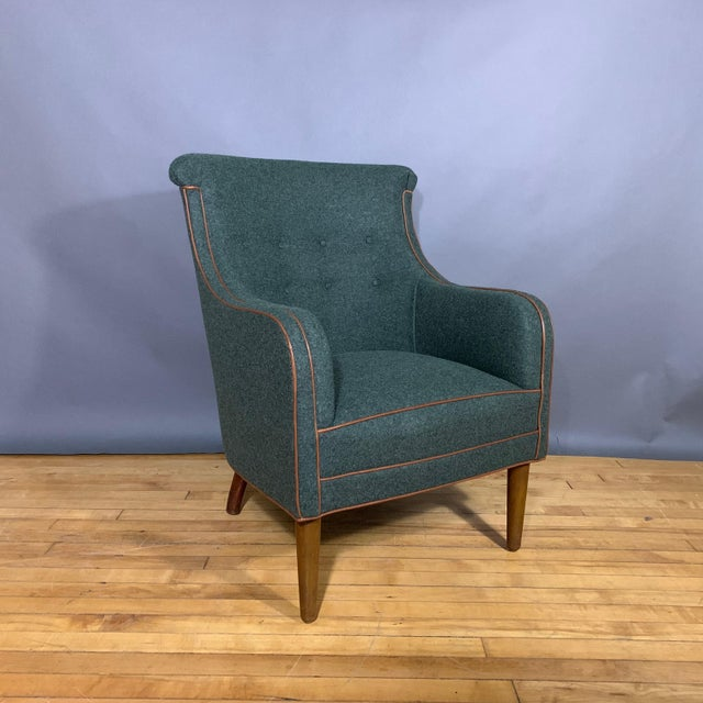 Danish 1950s Armchair, Kvadrat Felted Wool & Leather For Sale - Image 10 of 10