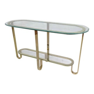 Hollywood Regency Style Decorator Brass and Glass Top Console Table For Sale