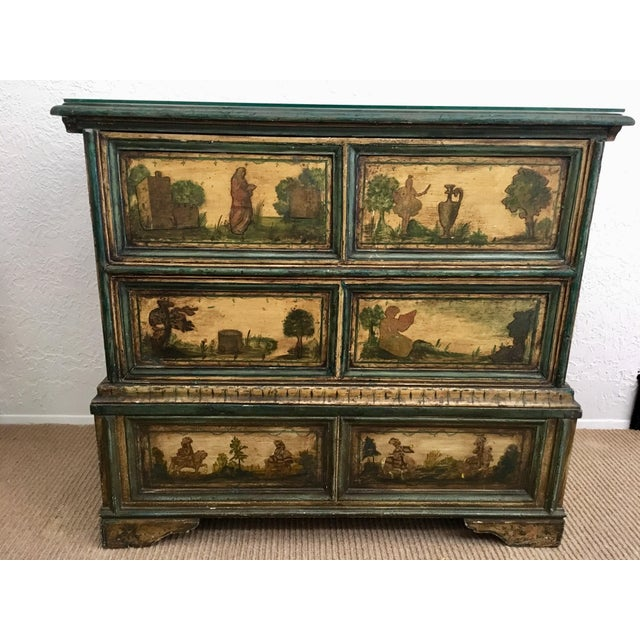 This rare 18th Century, Lacca Povera, hand painted Italian wood chest features Henry the VIII of England with Anne of...