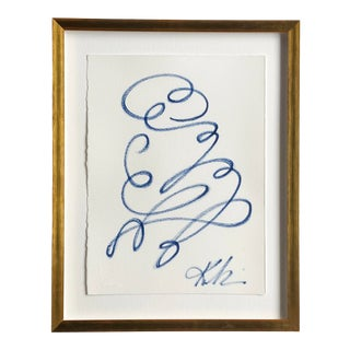 """""""Deja Vu #1"""" Contemporary Continuous Line Figure Painting by Kellie Lawler, Framed For Sale"""
