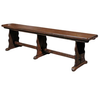 1880s English Rustic Long Wooden Bench with Trestle supports and Stretcher