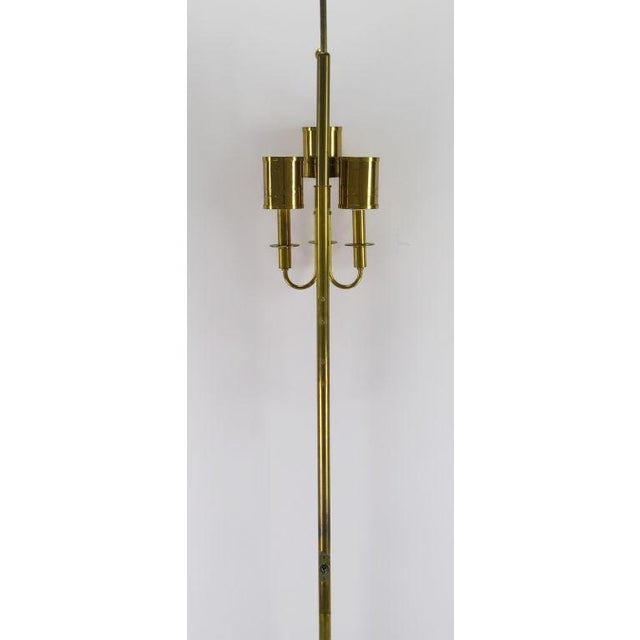 Three Light Pole Lamp With Polished & Pierced Brass Shades - Image 5 of 7