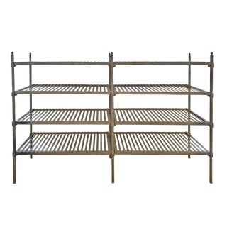 20th Century French Industrial Galvanized Zinc Shelving For Sale