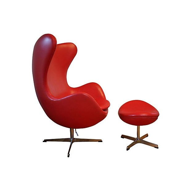 Mid-Century Modern Arne Jacobsen Style Red Leather Chair & Ottoman For Sale - Image 3 of 4