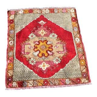 1970s Vintage Turkish Anatolian Carpet Floral Tribal Rug- 2′5″ × 2′8″ For Sale