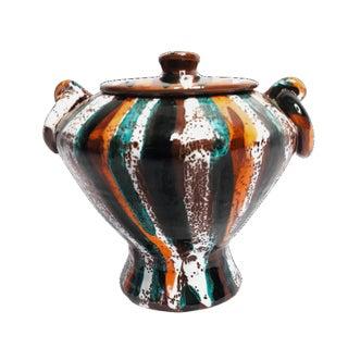Mid Century Modern Orange & Aqua Italian Vase