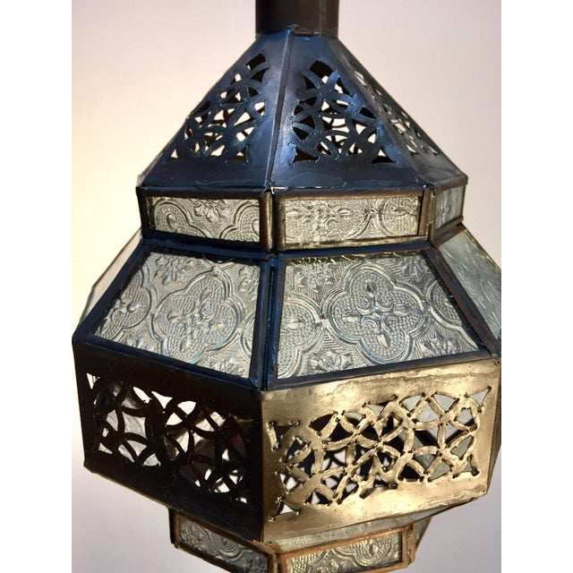 Handcrafted Moroccan Metal and Clear Glass Lantern, Octagonal Shape For Sale - Image 4 of 12