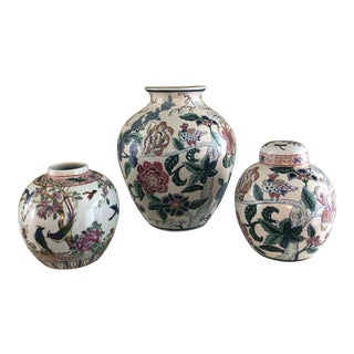 Vintage Chinoiserie Floral Bird Motif Vases - Set of 3 For Sale
