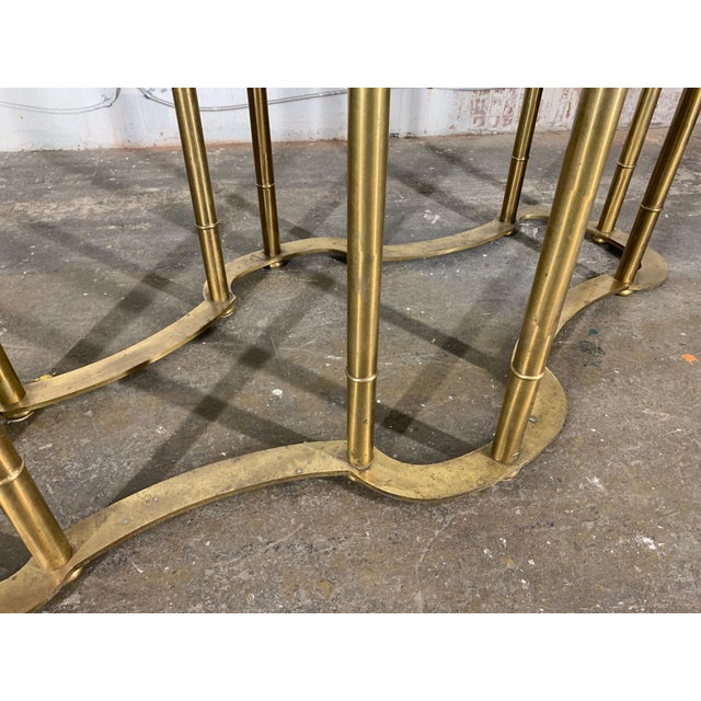 1970s Mastercraft Racetrack Brass Pedestal Dining Table For Sale - Image 5 of 6