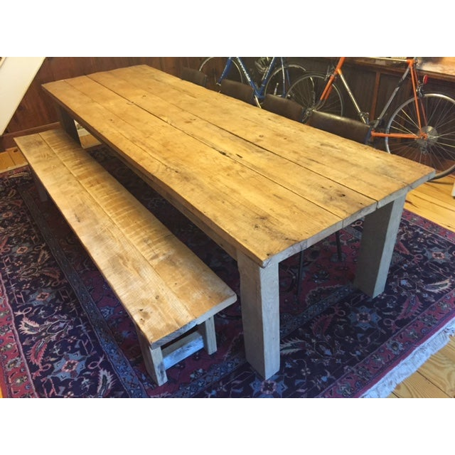 Rustic White Oak Dining Table and Bench - Image 2 of 6