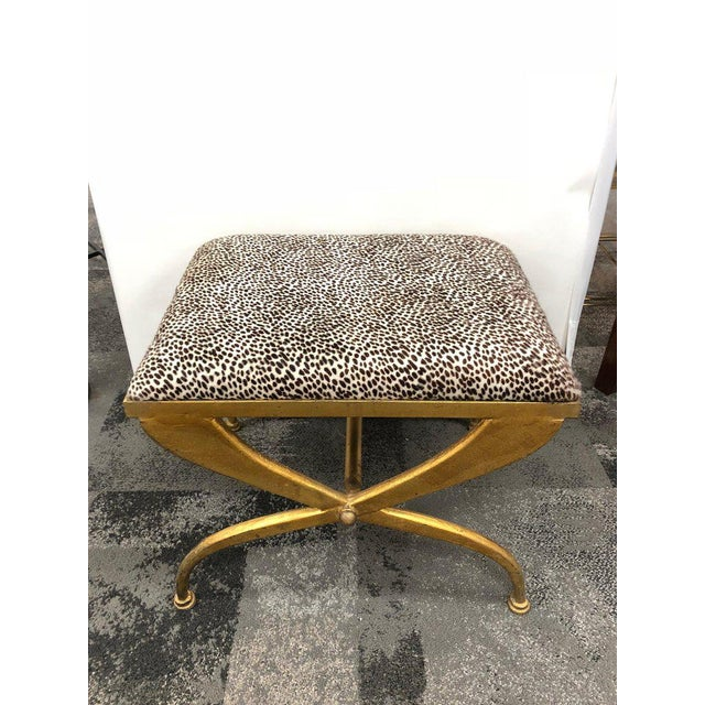 1950s Mid-Century French Gilt Iron Bench by Maison Ramsay For Sale - Image 5 of 6
