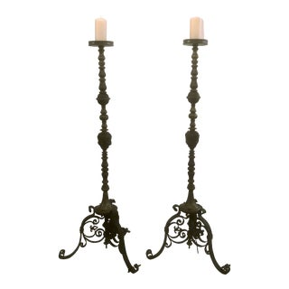 Pair Antique Early 19th Century Bronze and Iron Torcheres. For Sale