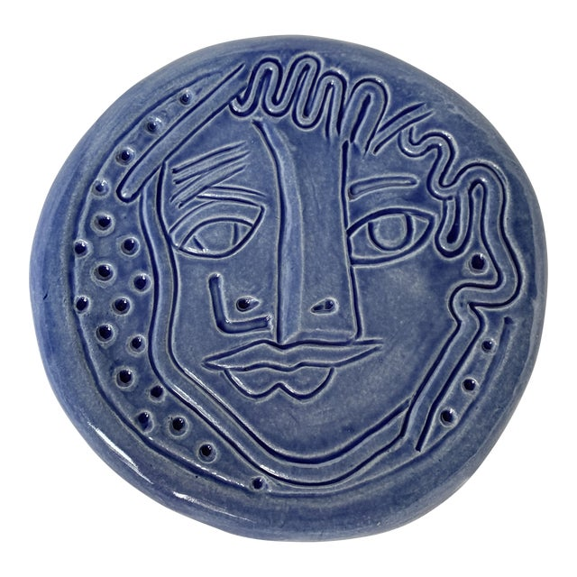 Blue Abstract Art Ceramic Pottery Plate Face Sculpture For Sale