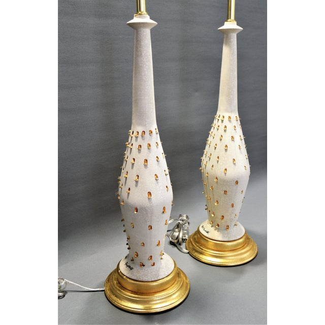 Tye of California 1957 Ceramic Table Lamps by Tye of California-A Pair-Restored-Gold Leaf White Brass Mid Century Modern MCM Palm Beach Boho Chic Tropical Coastal Luxe For Sale - Image 4 of 13