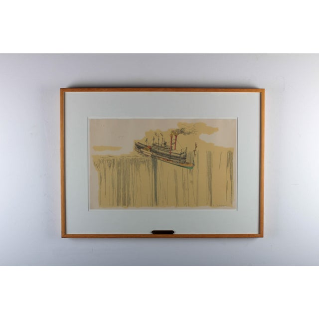 "1960's Lithograph ""Riverboat"" (1967) by William Richard Crutchfield For Sale - Image 10 of 10"