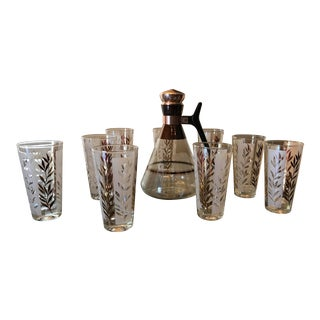Boho Chic Pitcher and Glassware Set - 10 Pieces For Sale
