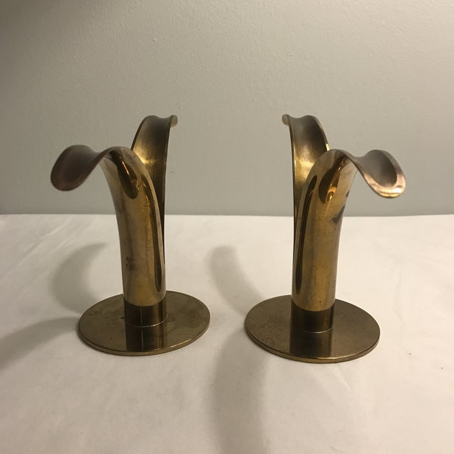 Ystad Metal Swedish Lily Candleholders - A Pair For Sale - Image 5 of 11