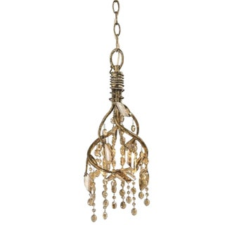 "Gold Steel and Crystal Pendant Light ""Autumn Twilight"" For Sale"