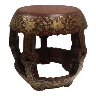 Chinese Red & Gold Lacquered Stool For Sale