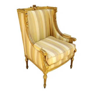 Museum Quality Antique 19th Century French Louis XVI Gilt Carved Bergere Arm Chair Gold For Sale