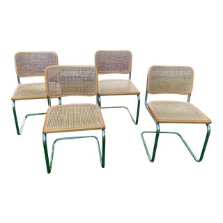 Marcel Breuer Style Cesca Cantilever Chairs- Set of 4 For Sale