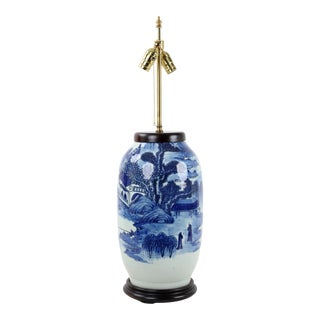 19th Century Vintage Double Bulb Pull Switch Blue and White Lamp For Sale