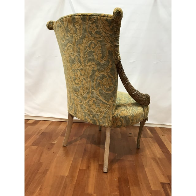 Grosfeld House Empire Grosfeld House Lee Jofa Printed Velvet Chair For Sale - Image 4 of 12