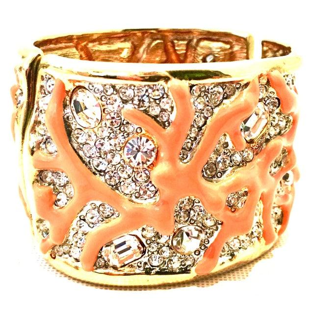 Kenneth Jay Lane 21st Century Kenneth Lane Gold & Faux Coral Swarovski Crystal Bracelet For Sale - Image 4 of 11